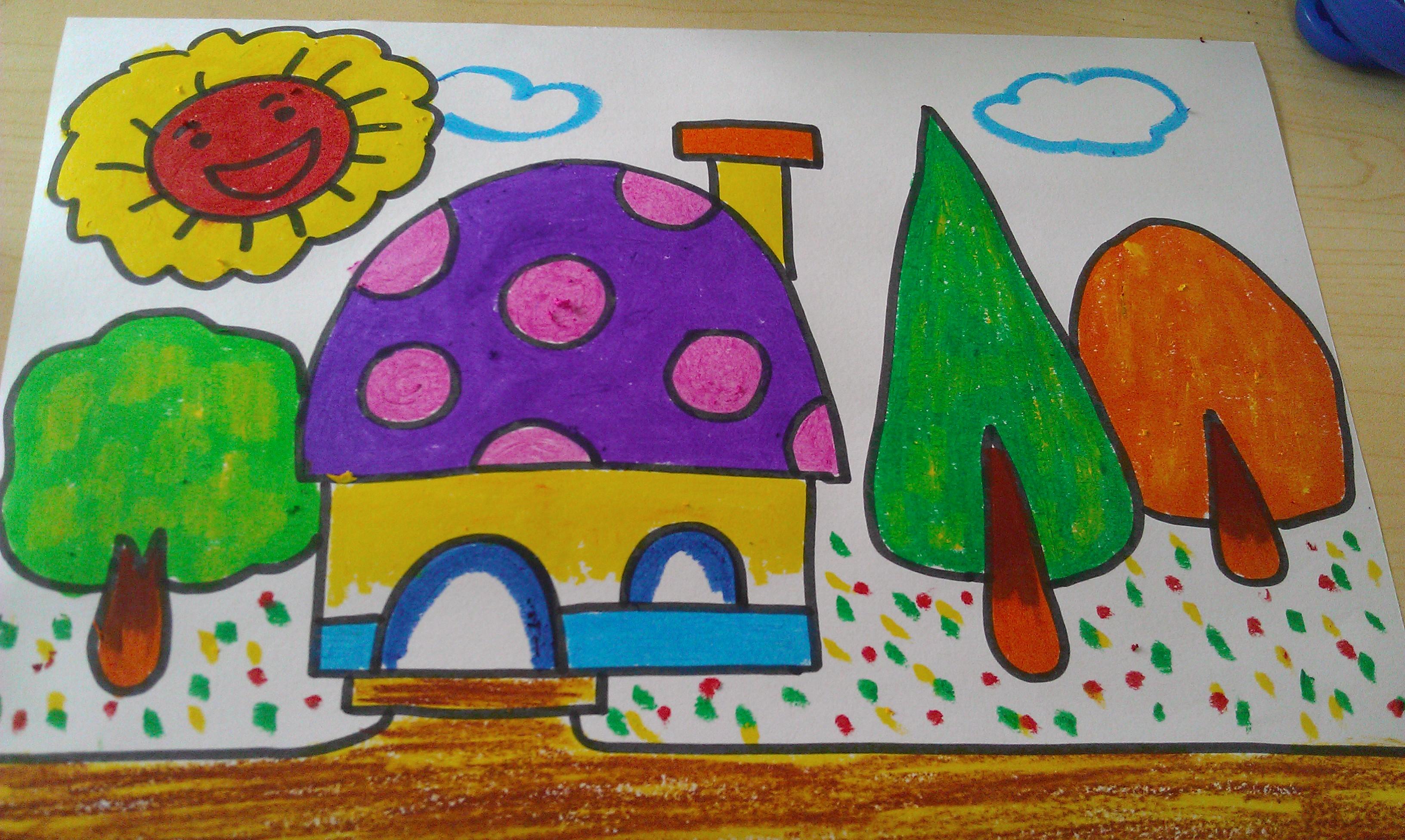幼儿园画画图片人物房子